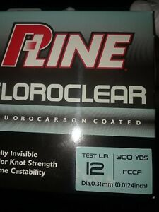 P-Line Floroclear Fluorocarbon Coated Fishing Line 12lb 300yd Clear FCCF-3 New