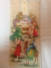 Vintage Christmas Greeting Card Bethlehem Manger Baby Jesus Guiding Light.