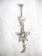 STAR SILHOUETTE & SHOOTING STAR DOUBLE CHARM ON DAZZLING CLEAR CZ BAR BELLY RING
