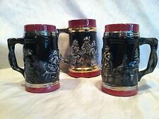 Set Of Three Black Winter Motif Beer Stein/Cup/Mug