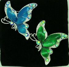 BRIGHT BLUE OR GREEN BUTTERFLY BROOCH WITH CZ & RHINESTONE CRYSTALS