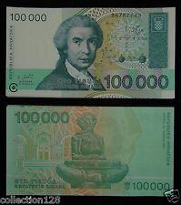 Bundle of 100 Pieces Croatia Banknotes 100000 Dinara 1993 Unc