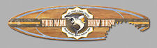 Your Name Brew House - 5FT Surfboard Bar Sign w/ Shark Bite Surf Man Cave - 8913