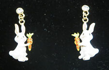 Bunny Rabbit Pierced Earrings Carrot Crystals Gold Tone White New