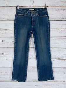 Lee Natural Bootcut Jeans Sz 8 Petite Dark Wash Cotton Spandex Just Below Waist