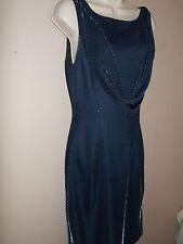 Reggio Womens Size 10 Unique Dark Blue Sheath Dress Metallic Shimmers Sleeveless