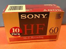 Sony C-60HF 60 Minute   Compact Audio Cassette   Hi-Fi in NEW Sealed Box of 10