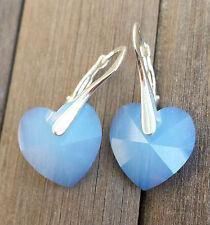 Kristall Schmuck Ohrringe 925 Silber mit Swarovski Elements Herz Blau Opal