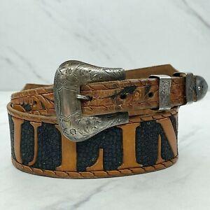 Vintage Tooled Leather Pauline Belt Size XS 26 Diablo Sterling Silver Buckle