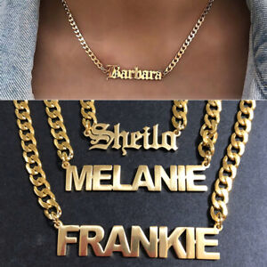 Personalized Custom Name Stainless Steel Cuban Curb Chain Engraving Necklace New