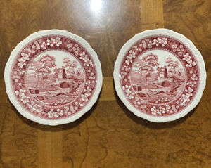 """Set Of ( 2 ) COPELAND SPODE'S TOWER PINK 7 5/8"""" SALAD PLATE"""