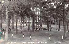 Iron Mountain MI Michigan~Concrete Barrier Posts~Picnic Tables in Park~RPPC 1950