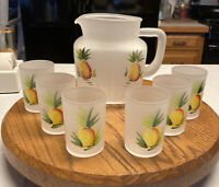 Federal Glass Co. Frosted Glass Pitcher Hand Painted Pineapples MCM 6 Juice 50s