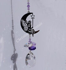 MOON - FAIRY with WAND  Sun Catcher Mobile with Cut Glass Crystal Rainbow Maker