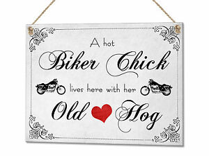 Biker Chick Old Hog Motorbike Funny Metal Plaque Sign Wall Art