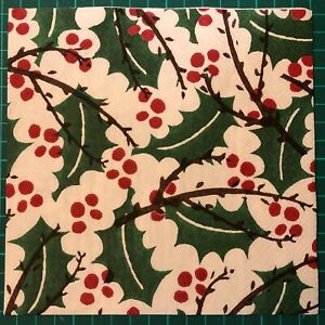 4 Napkins for Decoupage/Crafting 3 Ply Emma Bridgewater HOLLY