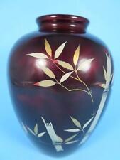 Vintage Royal Maruni Lacquerware Porcelain Oxblood Bamboo Vase (#35-2)