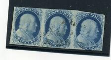 Scott #8 Franklin Types III Pos 99R2 in Strip of 3 w/Type II's PF Cert (#8-99R2)