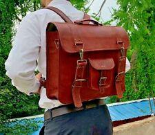 Handmade Vintage Leather Messenger Cum Backpack Briefcase Laptop Cross-body Bag