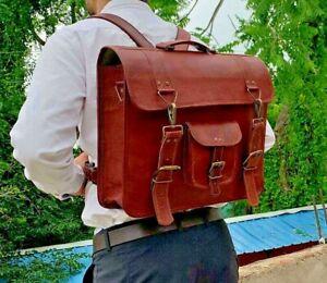 Vintage Brown Real Goat Leather Messenger Shoulder Briefcase Backpack Laptop Bag