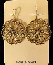 Snowflake Filigree Vintage Toledo Spain Earrings 24K Gold-Plated Damascene Style