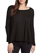 NWT $60 Fresh Laundry Thermal Long Sleeve Round Neck Swing Top BLACK LARGE