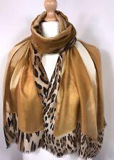 Leopard Print Scarf Pashmina Mocha Oversized Long Shawl Wrap Tie Dye Ombre NEW