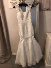Sparkling Size 6 Full Lace Mermaid/Fishtail Wedding Dress(916)