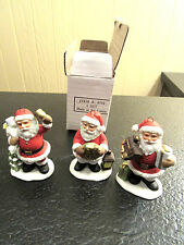 Adorable Homco Set of 3 Christmas Tree Santa Ornaments #8742 Nib