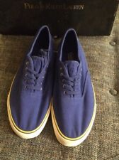 Nwob Polo Ralph Lauren Kelven Washed Canvas Casual Shoes Men's Size 12 Ryl Blue