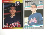 1989 Fleer #602 and 1989 Donruss #642 John Smoltz Baseball Cards