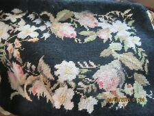 """Beautiful 18""""x 12 1/2"""" completed needlepoint Black ground, floral design Great!"""