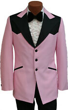 35R Vintage Pink Western Style Tuxedo Jacket w/ Ruffle & Bow Tie 1970's Costume