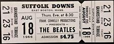 BEATLES - 1966 - FULL & UNUSED ORIGINAL CONCERT TICKET - BOSTON - SUFFOLK DOWNS
