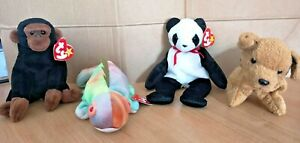 TY Beanie Babies - Congo, Fortune, Iggy and Tuffy