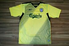 LIVERPOOL FC 2004-2006 SIZE XLARGE MEN'S YELLOW CARLSBERG AWAY FOOTBALL SHIRT