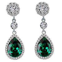 Luxury Diamond Shine Rhinestone Emerald Green Long Drop Stud Earrings E867