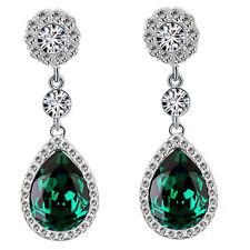 LUXURY Diamante Shine Strass Verde Smeraldo Lungo Goccia Orecchini E867