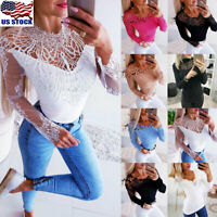 Womens Lace Long Sleeve Blouse Ladies Hollow Out Slim Fit Casual Tops T-Shirt US