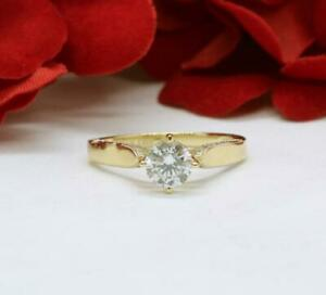 Solitaire 14kt Yellow Gold Over stimulated Diamond Bridal Engagement Ring Silver