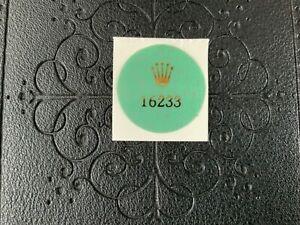 Rolex 16233 Mens Oyster DateJust Green Case Back Hologram Sticker