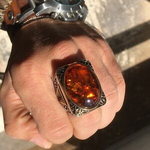 Mens Amber Ring Sterling Silver Large Amber Ring 925 Silver Yellow Stone Ring Elegant Men Band,Husband Gift Yellow Green Red Amber Ring