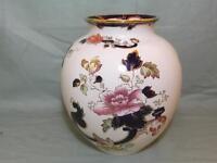 """Masons Ironstone Blue Mandalay Large Bulbous Vase 7½"""" Tall"""