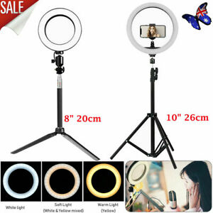 """8"""" 10"""" Dimmable Diva LED Ring Light Diffuser Stand Mirror Make Up Studio Video"""