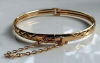GENUINE Medium 9ct Gold Bracelet Bangle gf,with safety chain GORGEOUS {X72