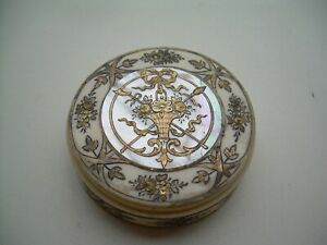 Antique Rare Georgian Gold & Silver Inlayed Continental Patch Box.