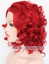 Short Bob Front Lace Wigs Women's Glueless Red Wavy Synthetic Hair Wig Heat Safe