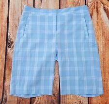 Izod Womens Golf Shorts Cool FX Sz 8 Pale Blue Plaid Athletic Wear Outdoor XFG