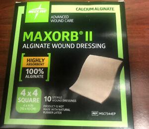 "2 Boxes 20! 4""x4"" Medline Maxorb II Alginate wound dressing NEW IN BOX exp 10/23"