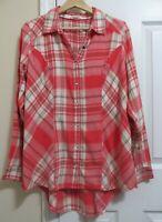 Maurices Plaid Cotton Flannel Multicolor Button Long Sleeve Shirt Top Plus Sz 0